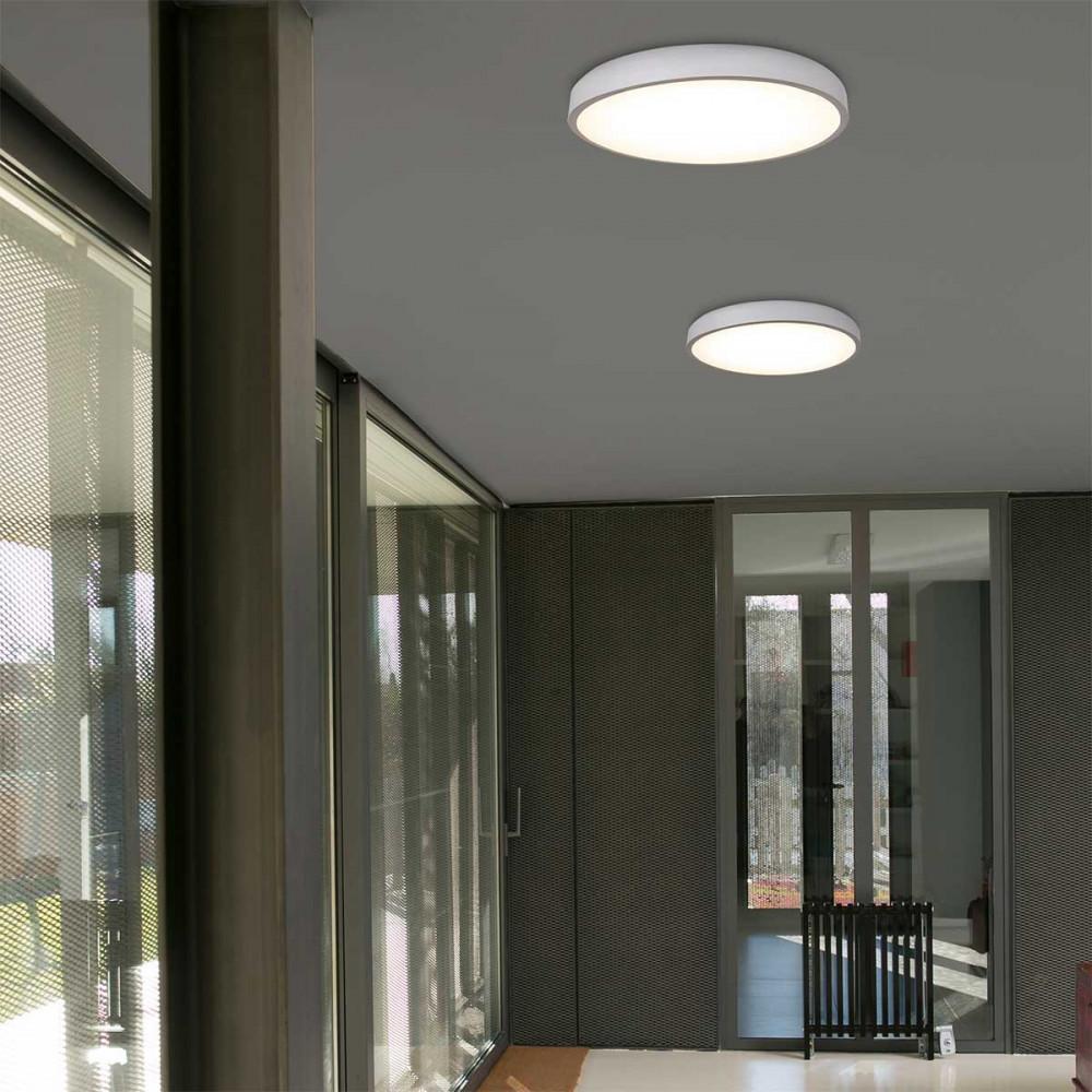 Tr s grand plafonnier rond blanc led de 55cm lampe avenue - Grand plafonnier design ...