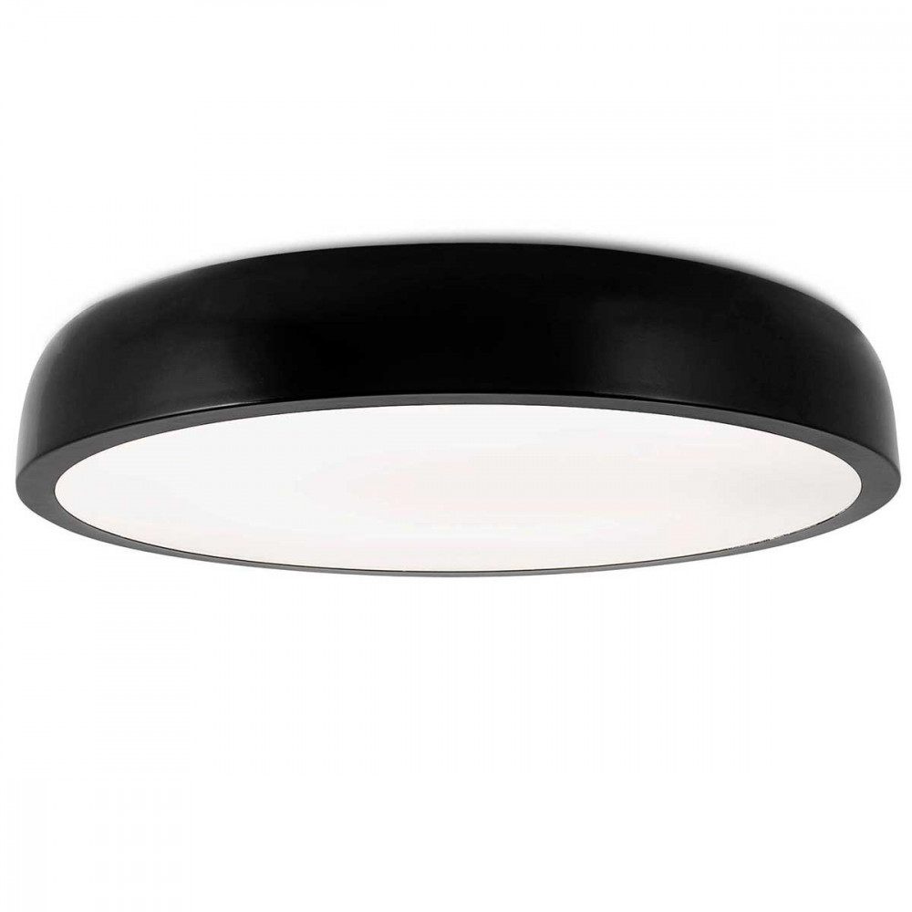 Tr s grand plafonnier led design noir de 55cm lampe avenue for Plafonnier exterieur design