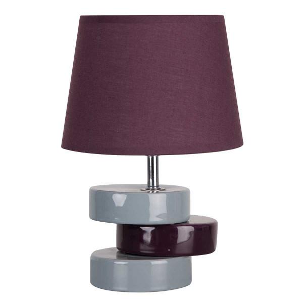 Petite lampe blanche et prune en c ramique brillante avec for Petite lampe exterieur