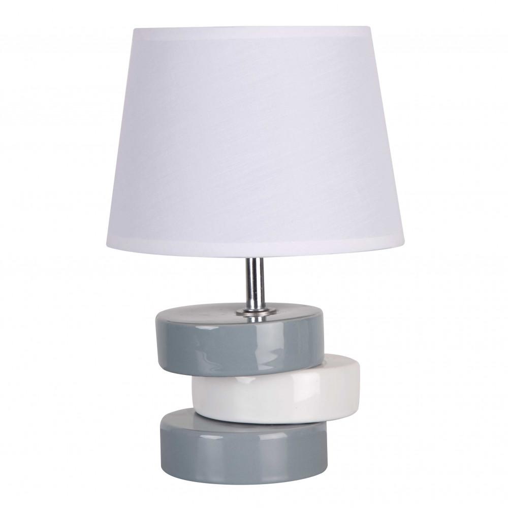 Petite lampe blanche et grise en c ramique brillante avec for Petite lampe exterieur