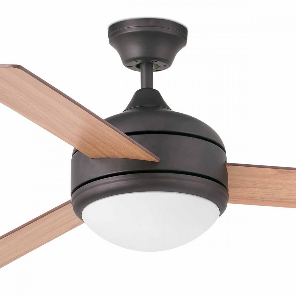 Grand ventilateur lumineux pales en bois vente sur lampe for Ventilateur de salon