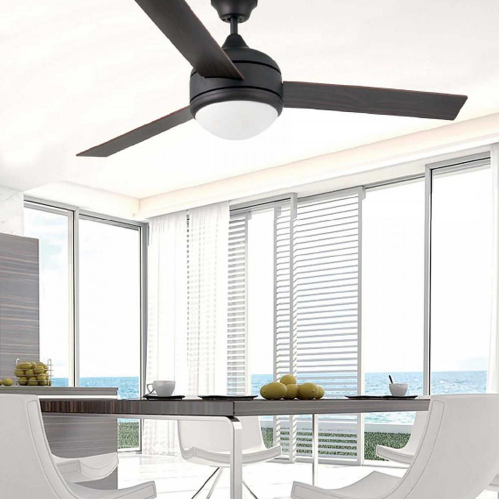 Grand ventilateur lumineux pales en bois Vente sur Lampe