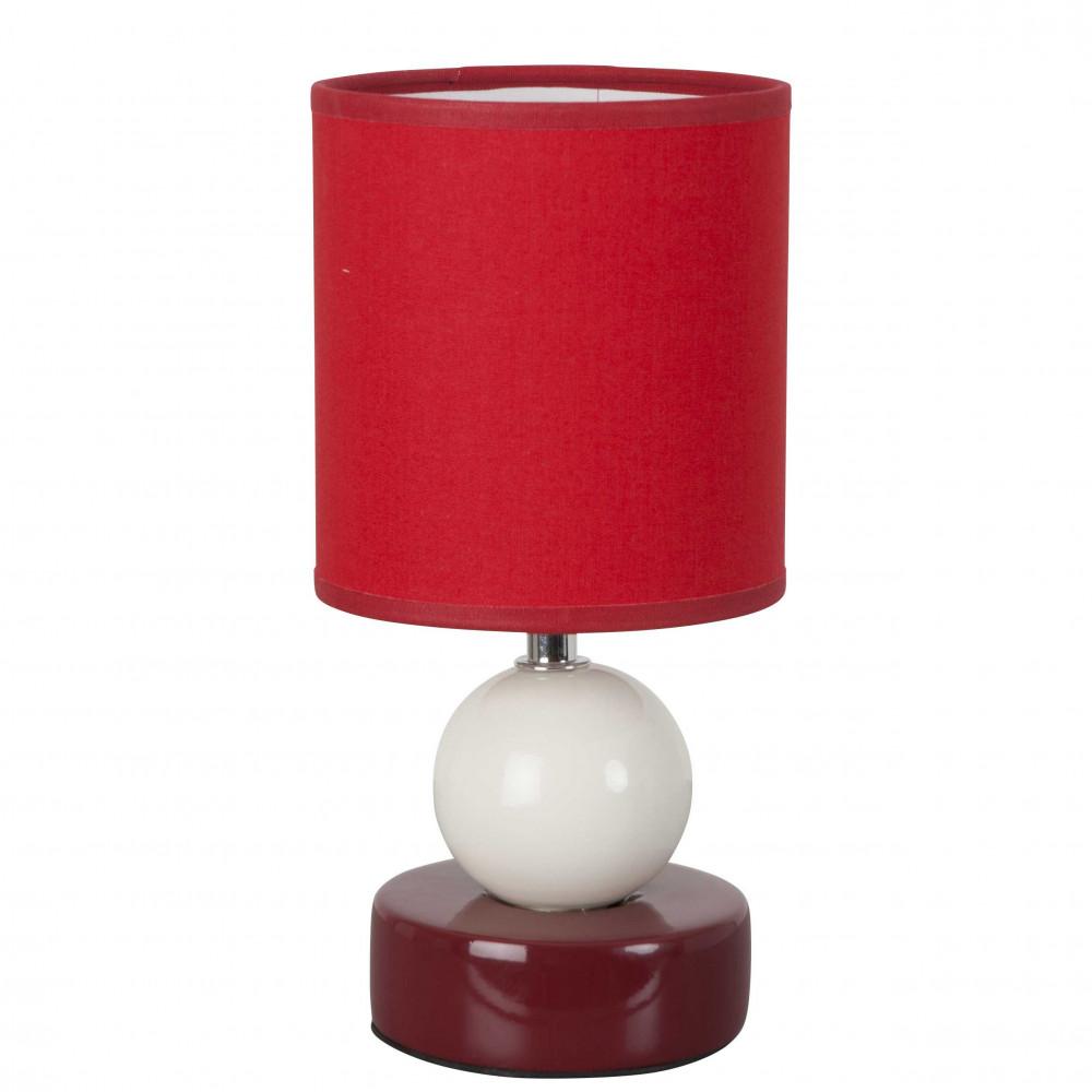petite lampe rouge en c ramique d co et originale avec sa forme et son abat jour coton lampe. Black Bedroom Furniture Sets. Home Design Ideas
