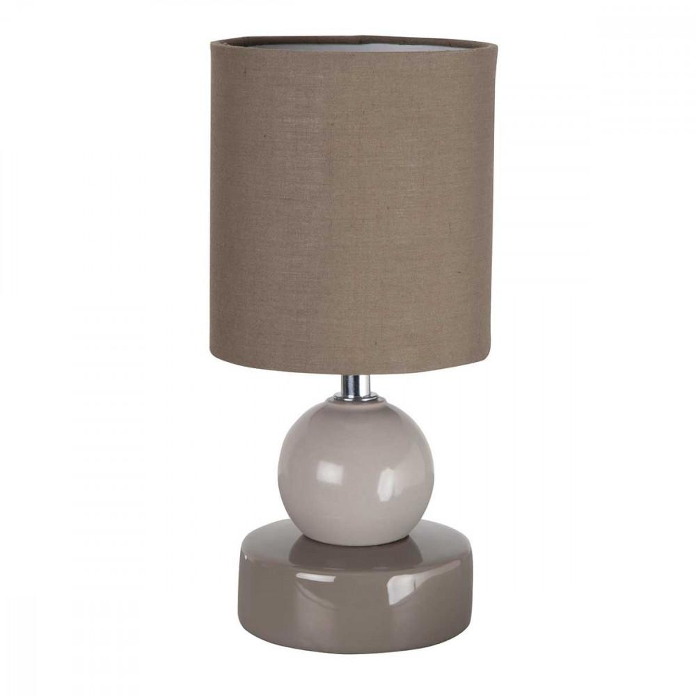 Petite lampe taupe en c ramique d co et originale avec sa for Petite lampe exterieur