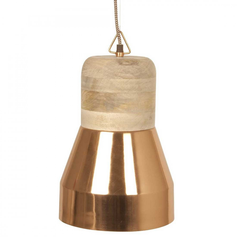 Suspension cuivre et bois design en vente sur lampe avenue for Suspension bois