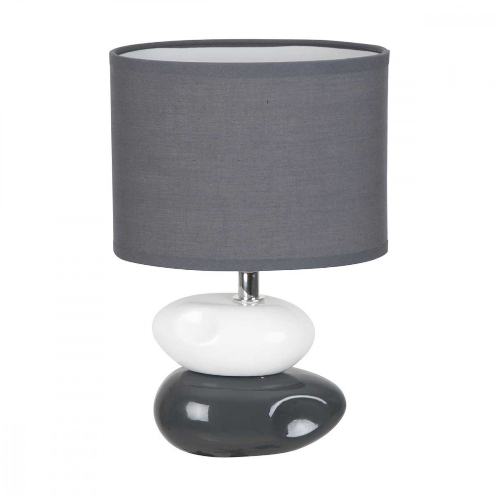 Lampe à poser en céramique avec 2 galets gris anthracite et blanc ...