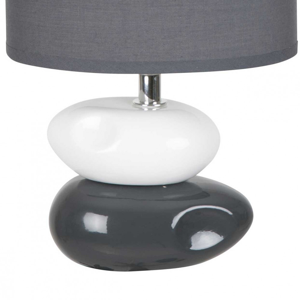 lampe poser en c ramique avec 2 galets gris anthracite. Black Bedroom Furniture Sets. Home Design Ideas