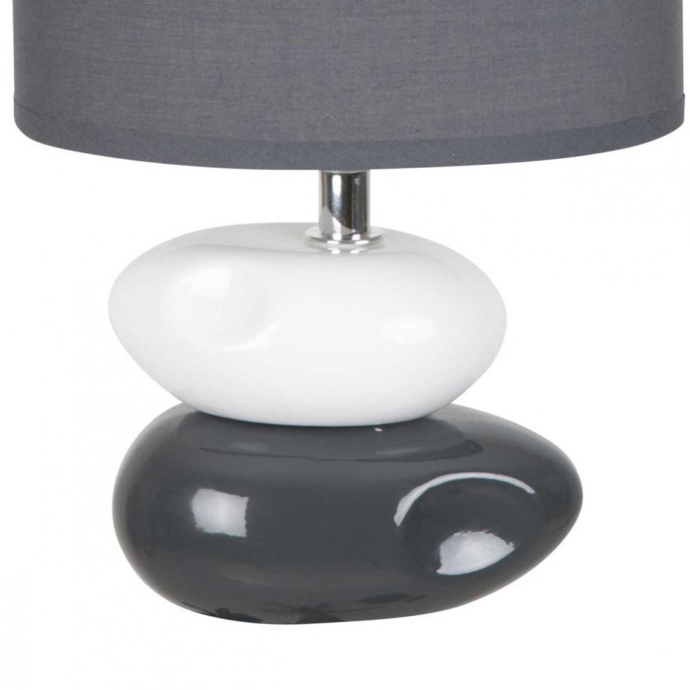 Lampe poser en c ramique avec 2 galets gris anthracite for Lampe a poser galet
