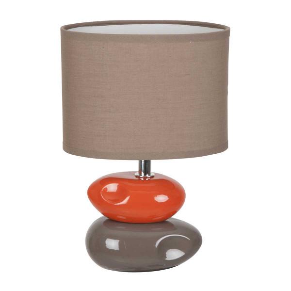 Lampe A Poser En Ceramique Avec 2 Galets Taupe Et Orange Ideale