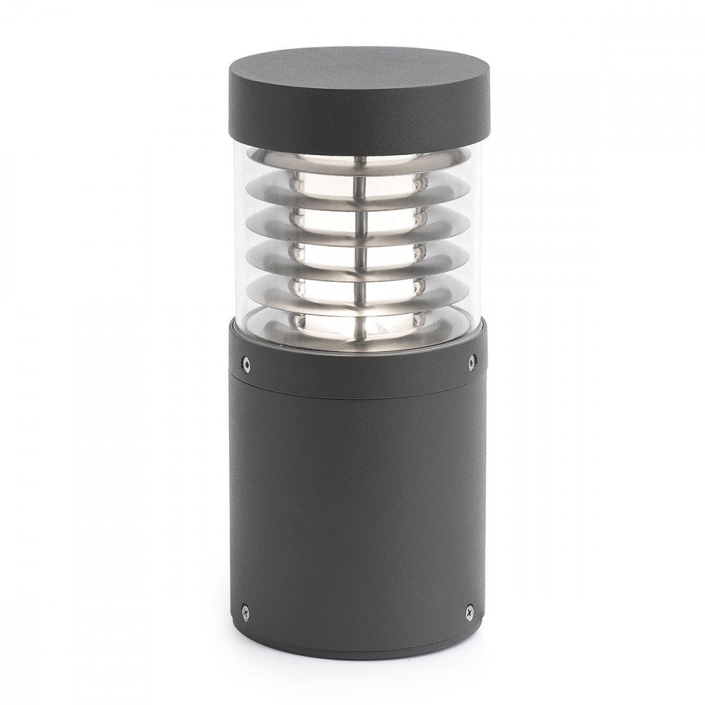 Borne led design grise en alu pour l ext rieur lampe avenue for Borne eclairage exterieur design