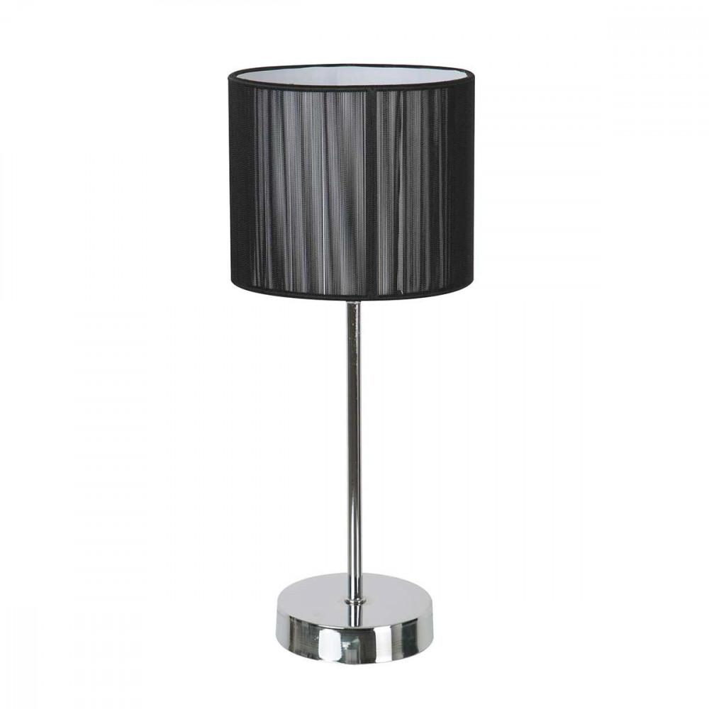 Lampe poser en m tal avec abat jour noir paillet style for Lampe a poser noire