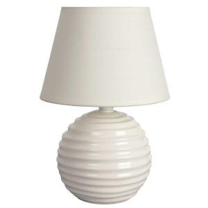 Lampe chevet boule céramique brillante crème