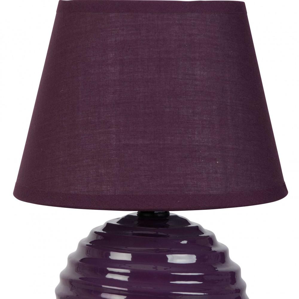 lampe boule stri e prune en c ramique brillante avec son abat jour en coton assorti lampe avenue. Black Bedroom Furniture Sets. Home Design Ideas