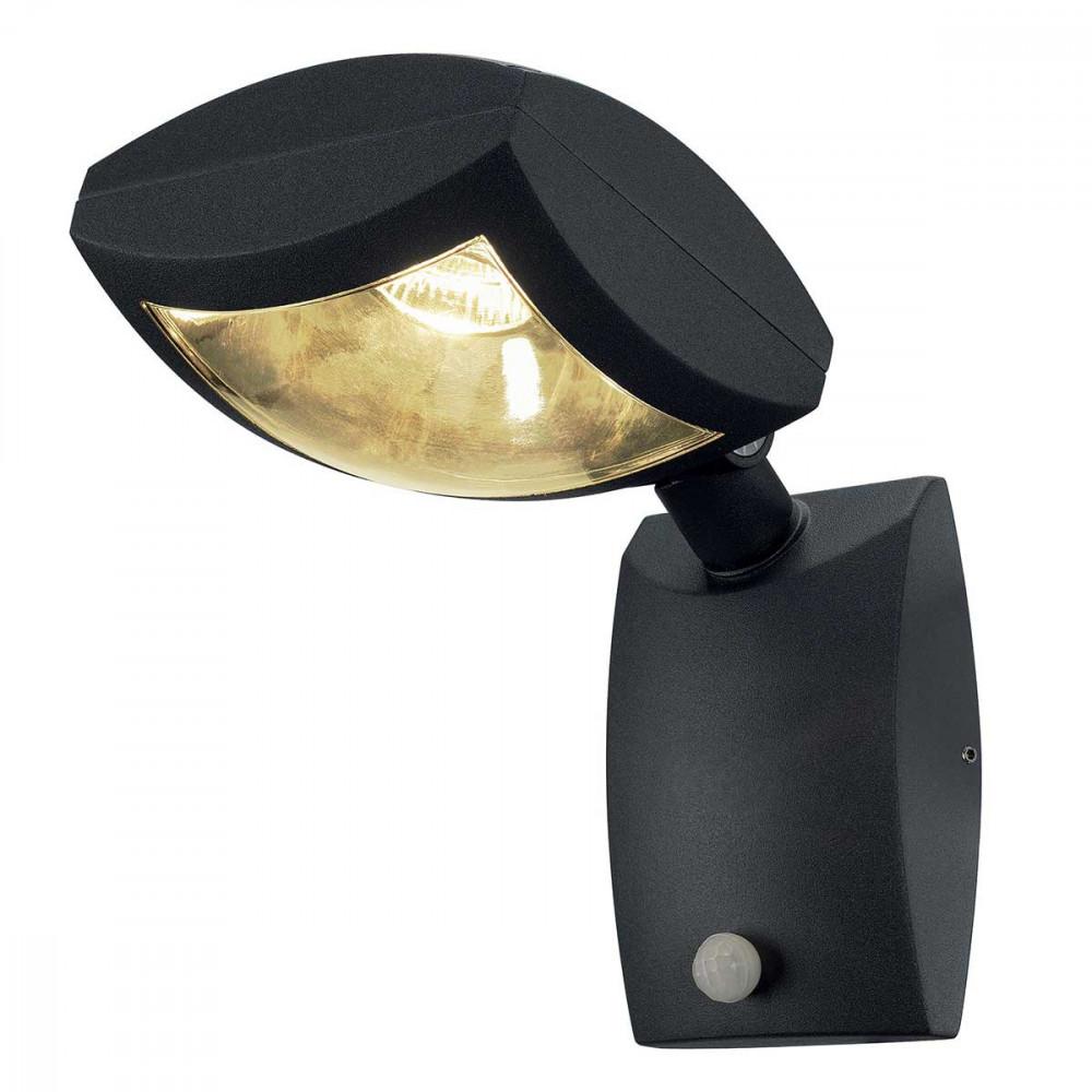 Projecteur design led gris fonc avec d tecteur de mouvement for Lampe exterieur avec detecteur