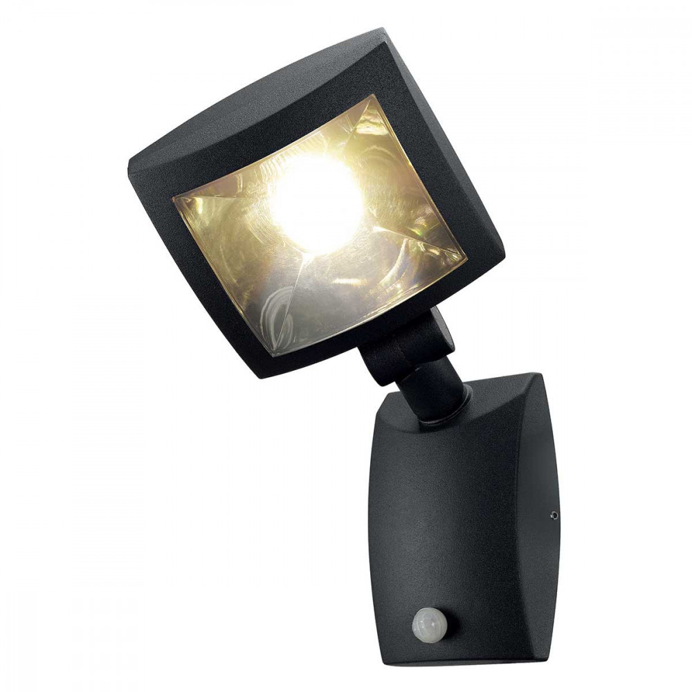 Projecteur design led gris fonc avec d tecteur de mouvement for Lampe exterieur led design