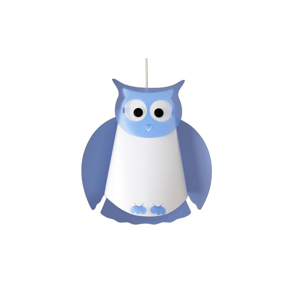 Suspension hibou bleu enfant for Suspension bleu