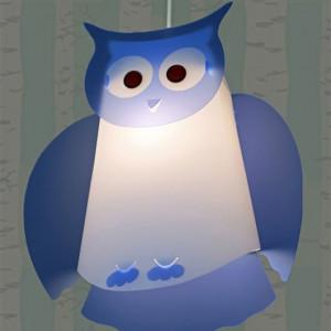 lampe enfant hibou bleu