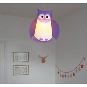 luminaire enfant hibou violet