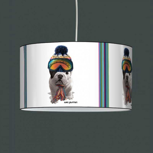 suspension luminaire enfant avec chien t o jasmin au ski. Black Bedroom Furniture Sets. Home Design Ideas