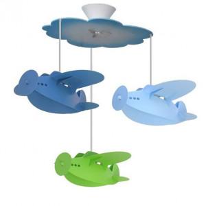 suspension lustre bleue et verte 3 avions pour enfant. Black Bedroom Furniture Sets. Home Design Ideas