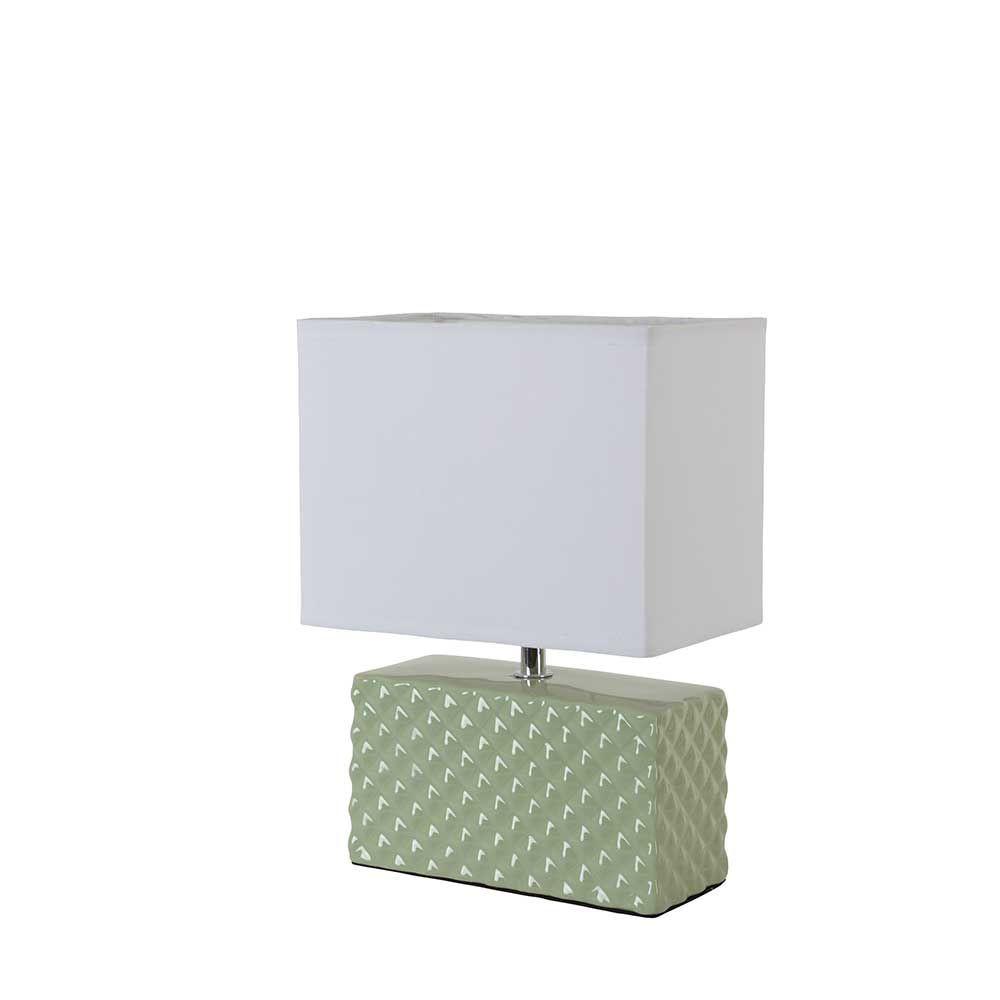 Lampe verte en c ramique brillante rectangle avec abat for Lampe a poser rectangulaire