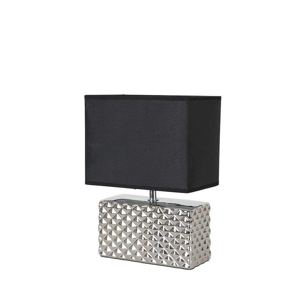 Lampe argent en c ramique brillante rectangle avec abat for Lampe a poser rectangulaire