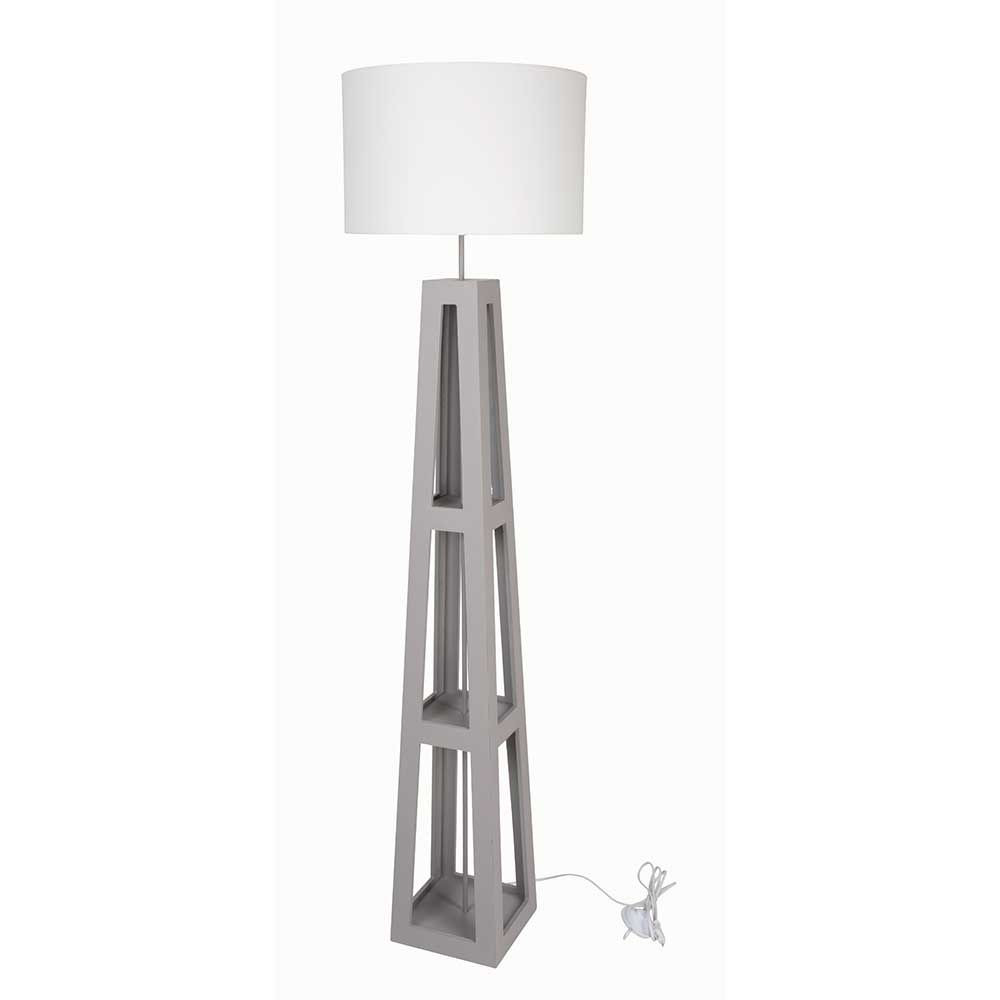 lampadaire en bois gris abat jour cylindre en coton blanc. Black Bedroom Furniture Sets. Home Design Ideas