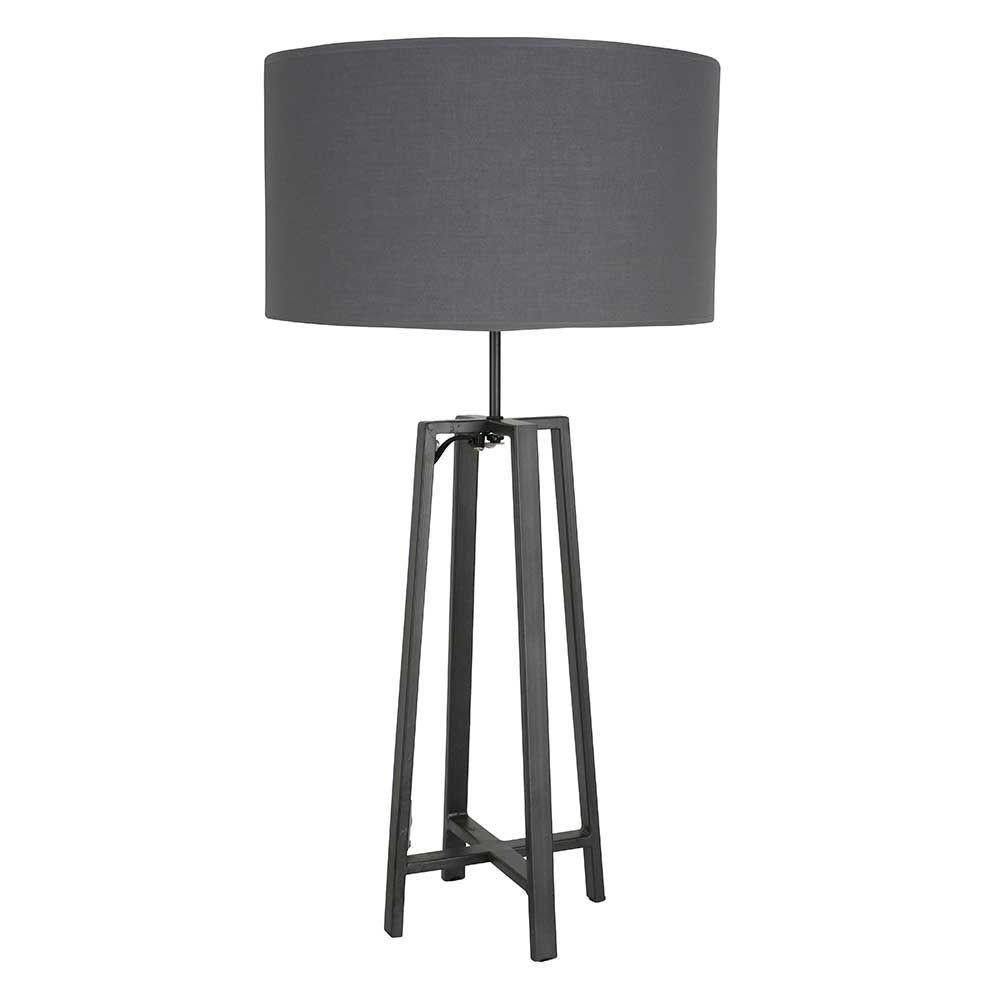 Lampe poser en m tal gris abat jour cylindre et cordon for Lampe exterieur a poser