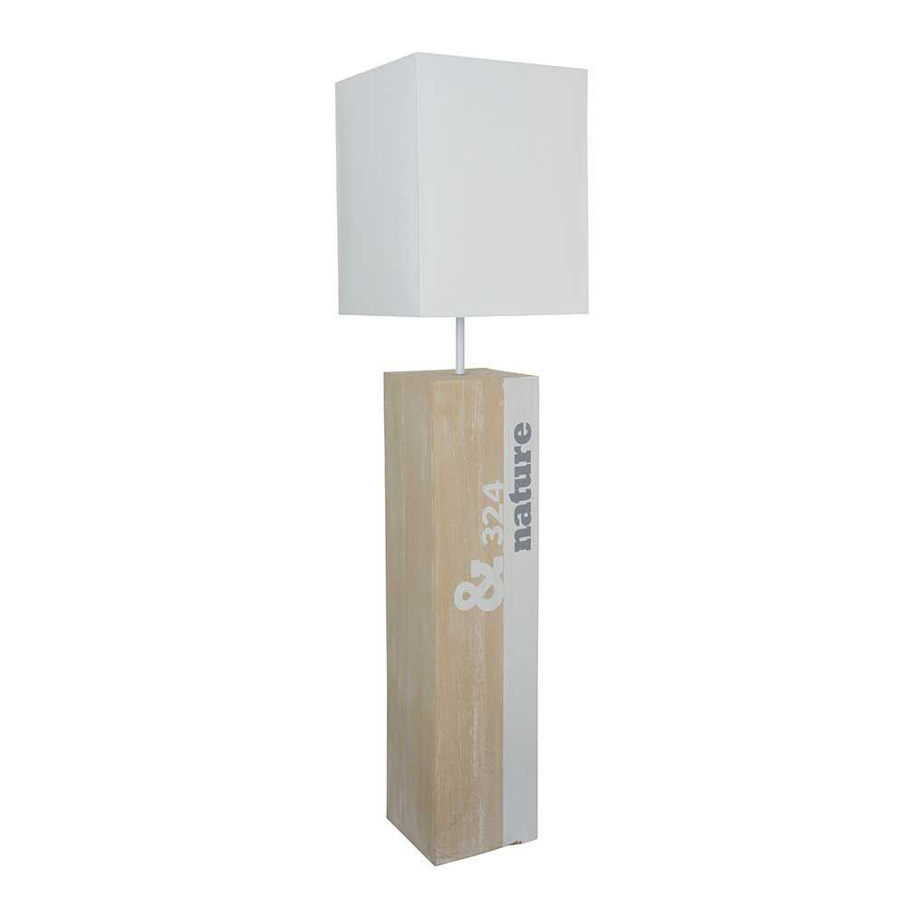 Lampe de sol en bois carr blanche avec inscription nature for Lampe de sol but
