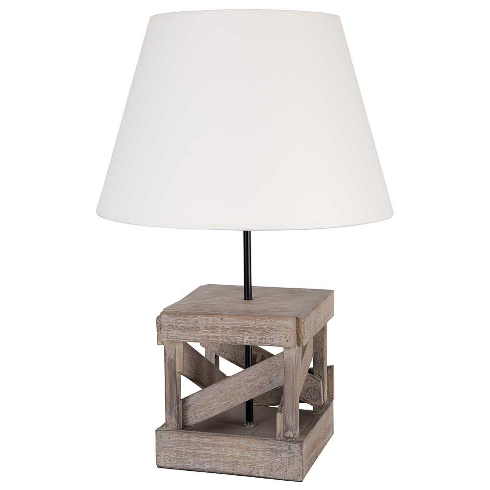 lampe bord de mer bois vieilli abat jour en blanc sur lampe avenue. Black Bedroom Furniture Sets. Home Design Ideas