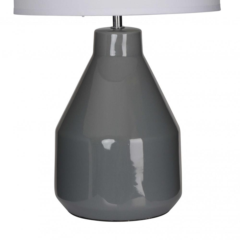 Lampe c ramique grise en forme de pot abat jour blanc for Lampe a poser grise