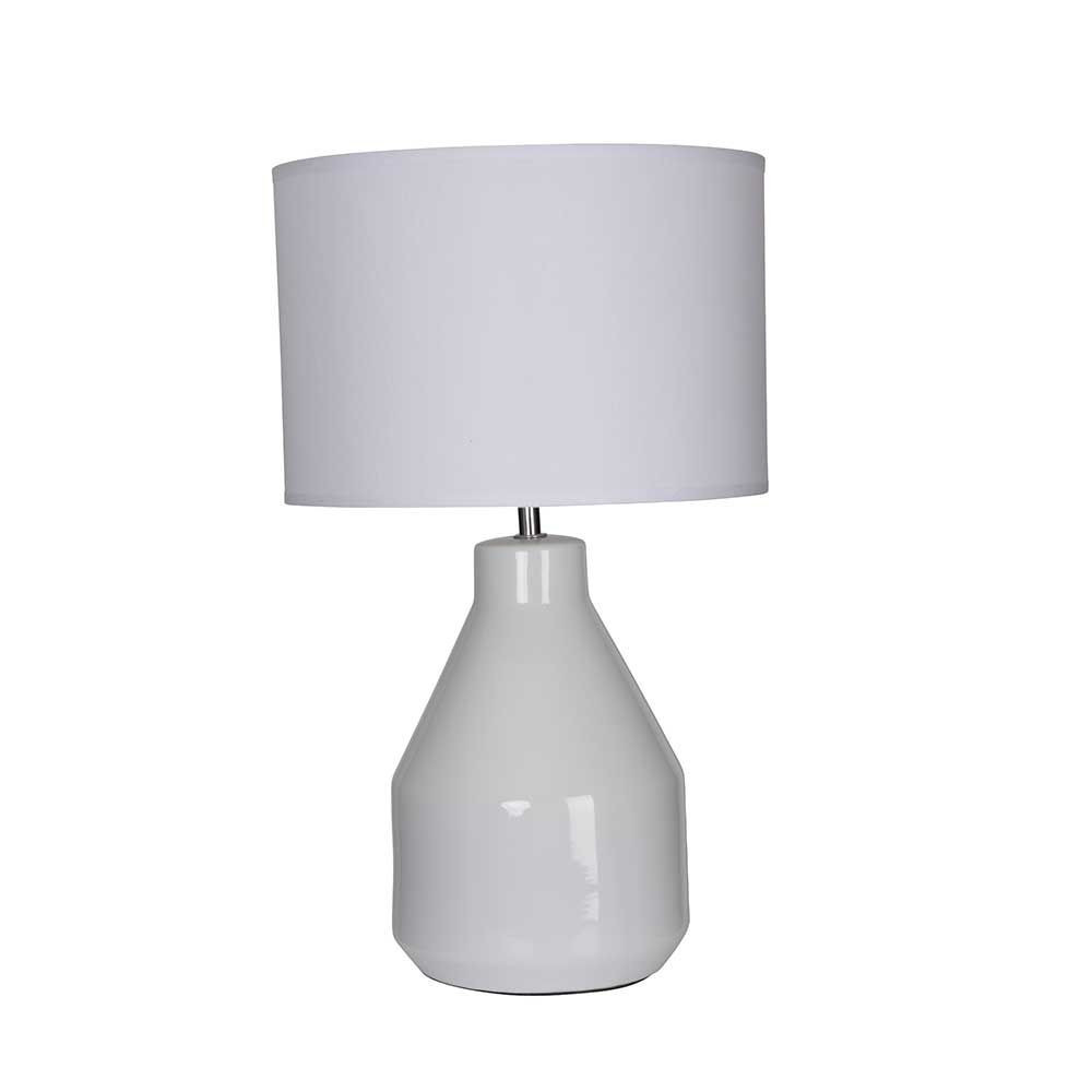 Lampe c ramique blanche abat jour en coton blanc sur for Lampe exterieur blanche
