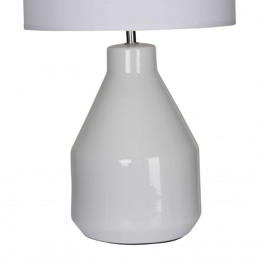 lampe c ramique blanche abat jour en coton blanc sur. Black Bedroom Furniture Sets. Home Design Ideas