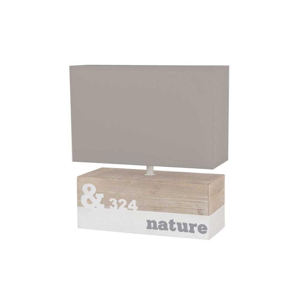 Une lampe bois rectangle abat jour gris coton style bord for Lampe bord de mer