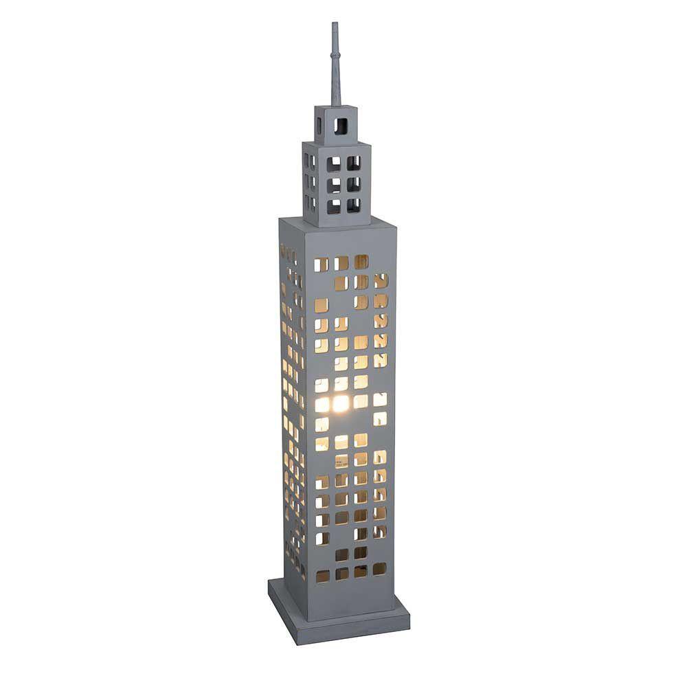 Grande lampe en bois grise forme building sur lampe avenue for Lampe de chevet tactile new york