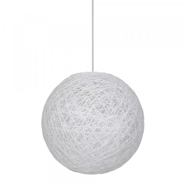 Suspension boule en ficelle tress e blanche style d co for Suspension luminaire ronde