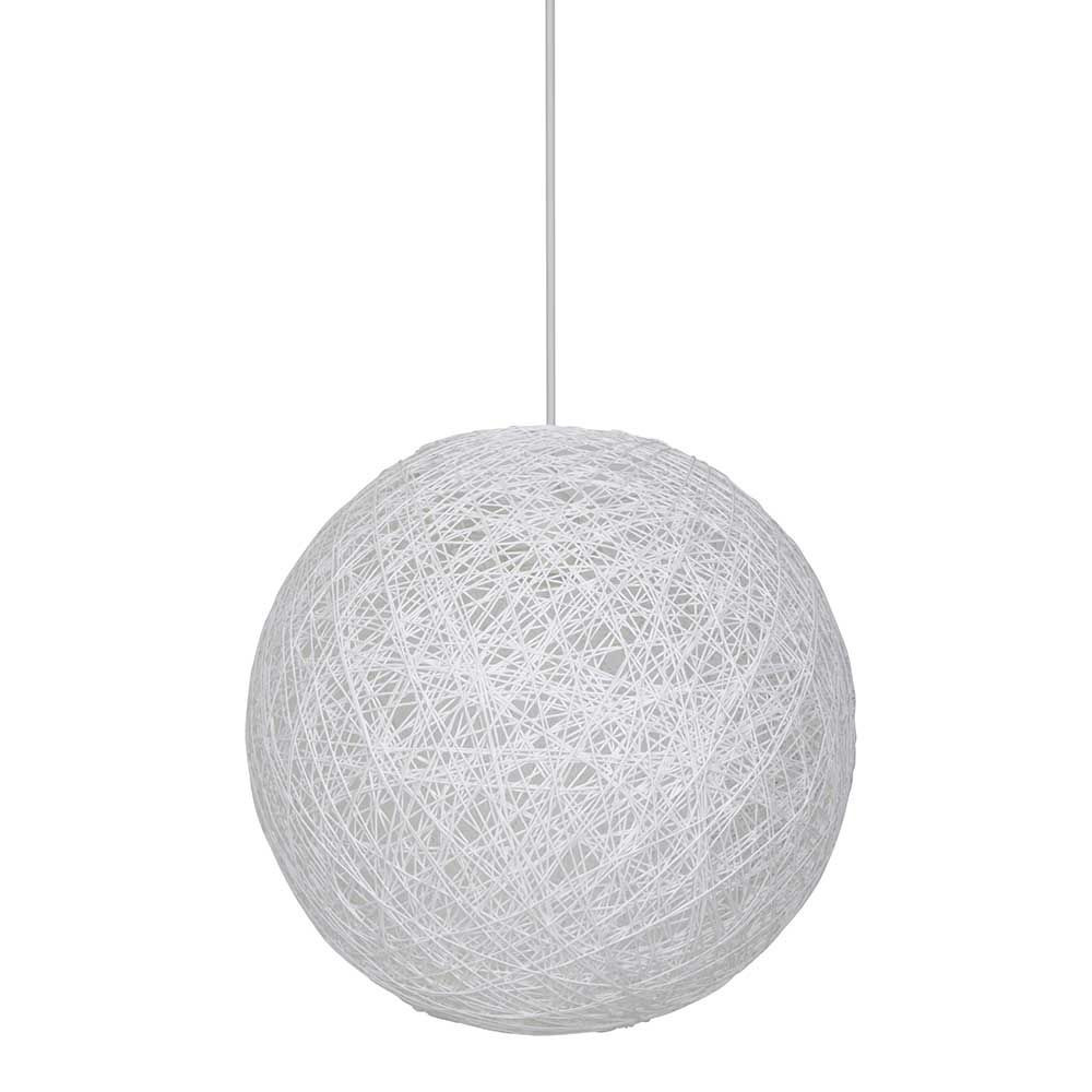 Suspension boule en ficelle tress e blanche style d co for Suspension boule noire