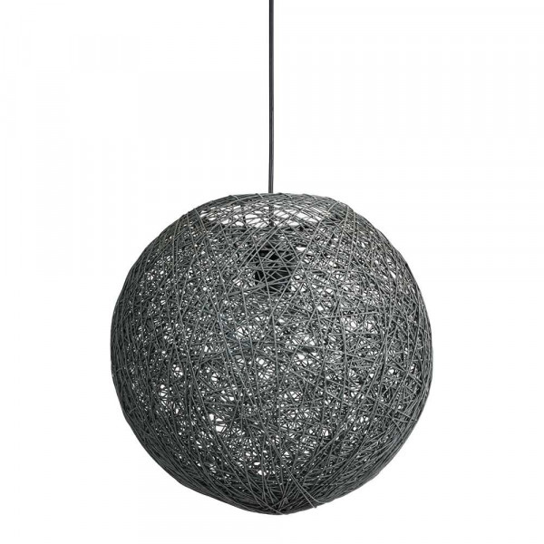 suspension boule en ficelle gris anthracite chic et. Black Bedroom Furniture Sets. Home Design Ideas