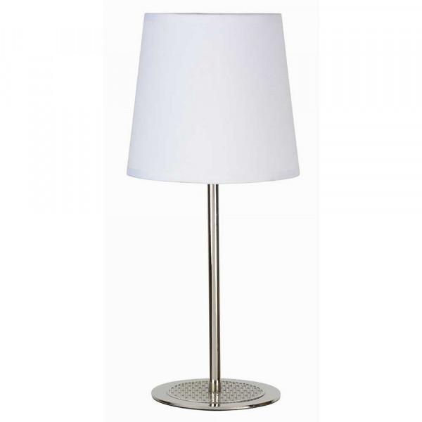 lampe poser sobre et moderne pied m tal abat jour blanc. Black Bedroom Furniture Sets. Home Design Ideas