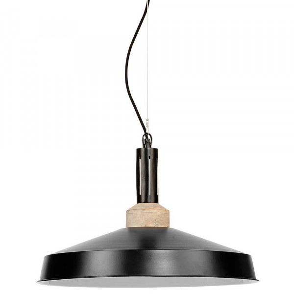 Suspension industrielle noire bois et métal moderne