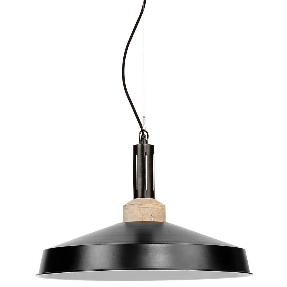 Suspension industrielle noire bois et m tal moderne for Suspension metal noir