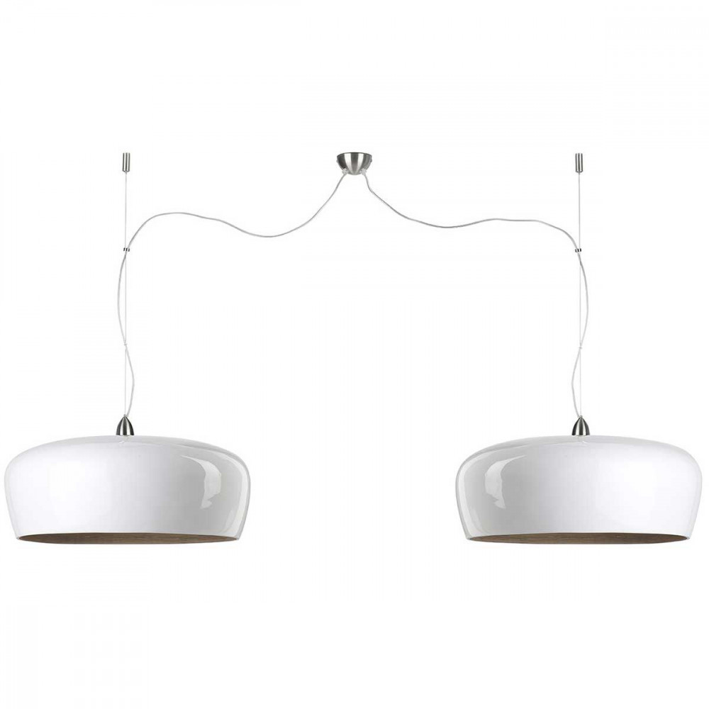 Suspension bambou double design blanc - Suspension luminaire bambou ...