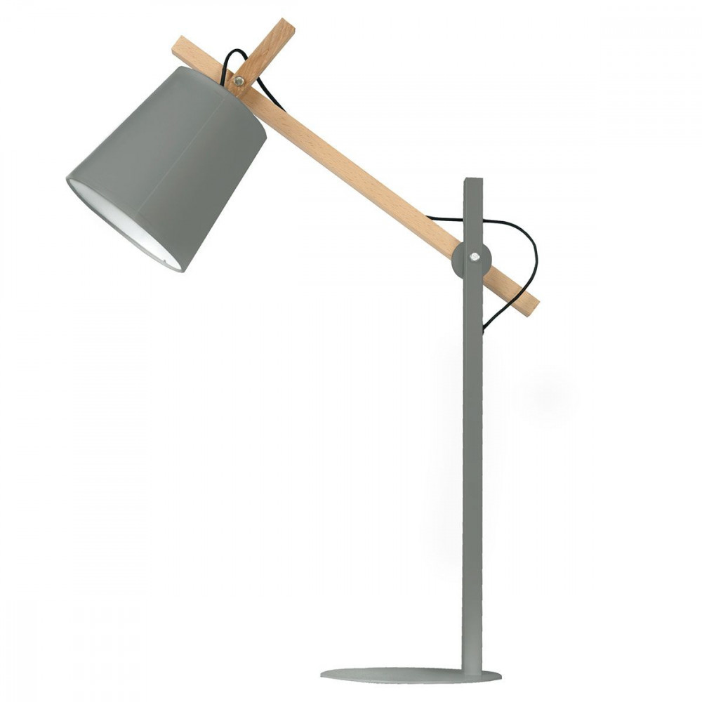 Lampe design grise m tal et bois for Des bureaux en bois