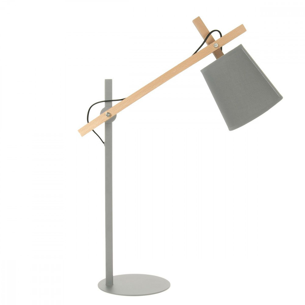 Lampe design grise m tal et bois for Lampe exterieur a poser