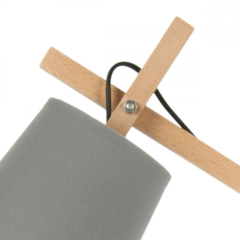 lampe design grise m tal et bois. Black Bedroom Furniture Sets. Home Design Ideas