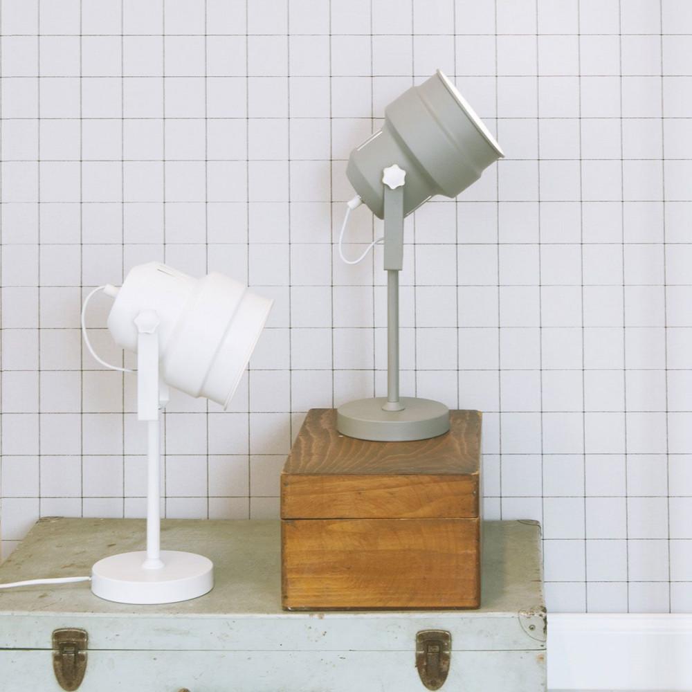 Lampe de sol en m tal gris for Lampe projecteur exterieur