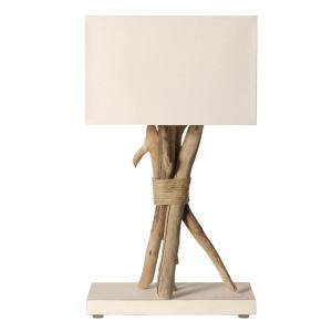 Lampe blanche en bois flotté
