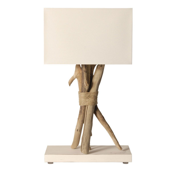 Lampe bois flott abat jour blanc for Lampe de table rona