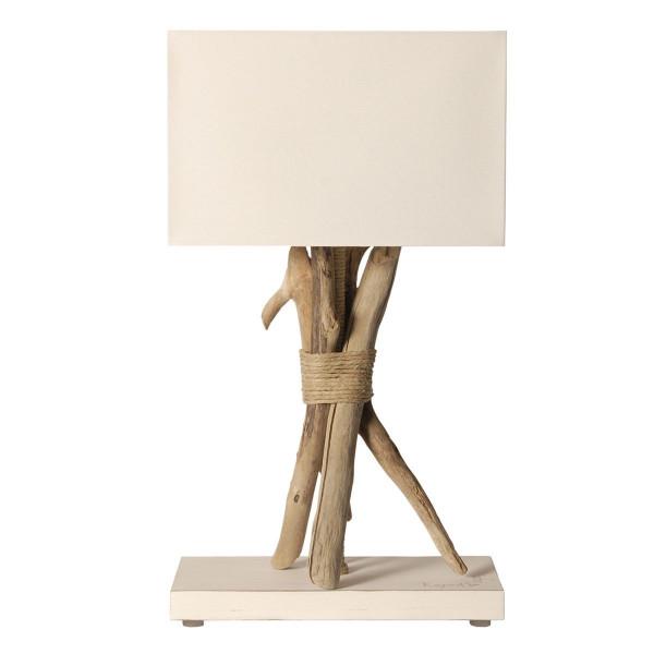 Lampe bois flott abat jour blanc - Lampe a poser bois flotte ...
