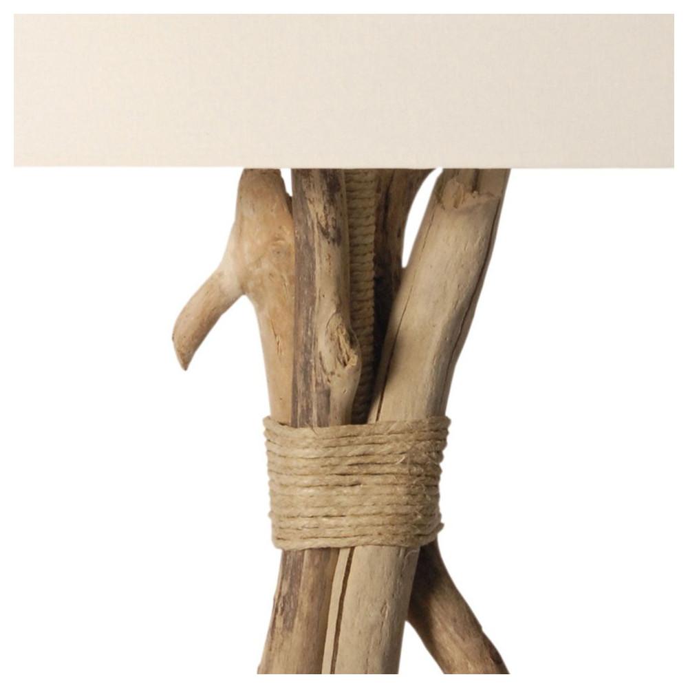 Lampe bois flott abat jour blanc for Bois flotte techniques